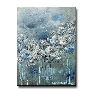 GICLEE PRINT Art Abstract Blue Grey White Floral Painting Flowers Modern Coastal Canvas Print