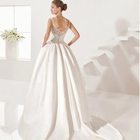 [158.99] Delightful Tulle & Satin Scoop Neckline A-line Wedding Dresses With Beaded Lace Appliques - dressilyme.com