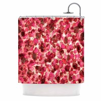 "Ebi Emporium ""WILD THING, RED PINK"" Red Pink Animal Print Abstract Watercolor Mixed Media Shower Curtain"