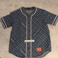 LOUIS VUITTON x SUPREME Monogram Blue Jacquard Denim Baseball Jersey Shirt MEDIU