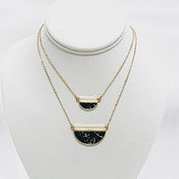 Table Stone Black Layered Necklace in Gold