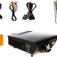LCD Video Projector, Fugetek FG-637, Great Entry Level Home Theater Cinema, Long Lasting LED Lamp Life, Features HDMI, VGA, YPBPR, 1080i/p, HD Ready, Black, US Warranty And Support