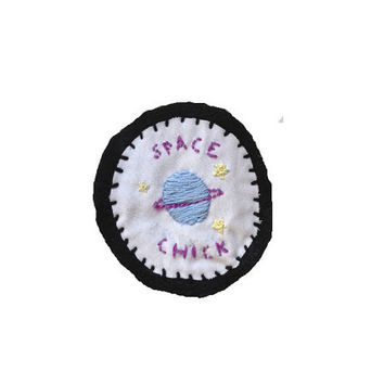 Space Chick Patch // Planet Embroidered Hand-made Patch