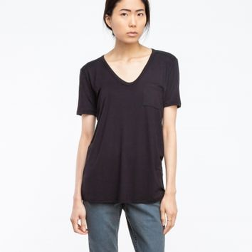 T by Alexander Wang Classic Tee With Pocket In Black
