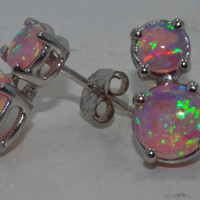 3 Carat Pink Opal Stud Earrings White Gold Quality