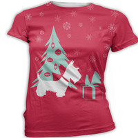 Womens Scottish Terrier Christmas T-Shirt Printed Graphic Top Custom or Personalized V-Neck, Scoop, Crew Neck. Men's, Women's, Ladies.