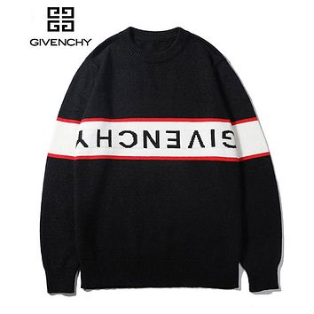 GIVENCHY Classic Popular Women Men Casual Print Long Sleeve Sweater Top Black