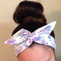 Purple Floral Dolly Bow Headband
