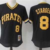 Men's Pittsburgh Pirates Willie Stargell Mitchell & Ness Black 1982 Authentic Cooperstown Collection Mesh Batting Practice Jersey