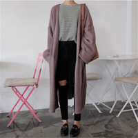 Spring New Fashion Women Cardigans Korean Style Long Sleeve Loose Sweaters Pockets Decorated Thick Knitted Sweater 63963