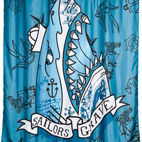 """""""Sailors Grave"""" Shower Curtain by Too Fast (Blue)"""