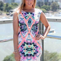 FOREVER LASTING LOVE DRESS , DRESSES, TOPS, BOTTOMS, JACKETS & JUMPERS, ACCESSORIES, SALE, PRE ORDER, NEW ARRIVALS, PLAYSUIT, COLOUR,,Pink,Print,BODYCON,SLEEVELESS Australia, Queensland, Brisbane
