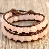 Pink rustic bracelet. Beaded chunky double wrap. Brown and pink jewelry