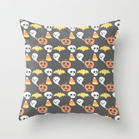 Adorable Halloween Pattern Throw Pillow by Adorkible