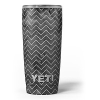 Black Watercolor with White Chevron - Skin Decal Vinyl Wrap Kit compatible with the Yeti Rambler Cooler Tumbler Cups