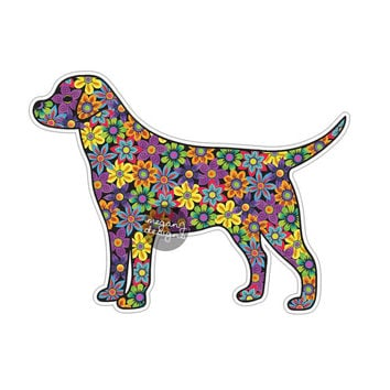 Dog Sticker Car Decal Laptop Decal Bumper Sticker Colorful Flowers Hippie Boho Cute Car Decal Pet Animal Puppy Floral Wall Decal Girly Gift