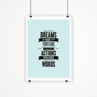 "Digital Print Art Poster ""Dream Bigger Than Your Fears"" Typography Wall Decor Home Decor Giclee Screenprint Letterpress Style Wall Hanging"