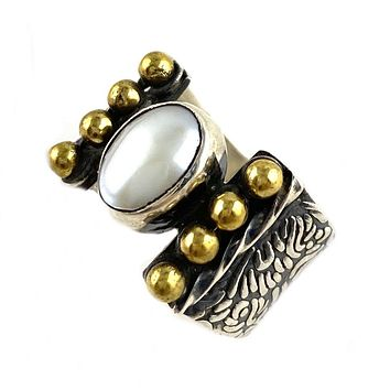 Pearl Sterling Silver Two Tone Band Ring