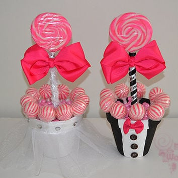 Medium Lollipop Bride and Groom Centerpieces, Bride, Groom, Centerpiece, Candy Wedding, Candy Buffet, Candy, Lollipop, Pink Wedding