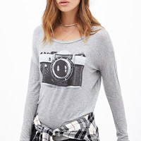 FOREVER 21 Camera Graphic Top Heather Grey/Black