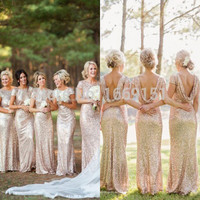 Champagne Gold Long Bridesmaid Dresses Sequined Short Sleeve Floor Length Bridesmaid Dress 2015 Prom Dress Wedding Party Dress