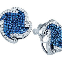 Blue Diamond Ladies Fashion Earrings in 10k White Gold 2 ctw