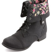 Floral-Lined Fold-Over Combat Boots by Charlotte Russe - Black