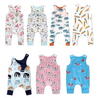Baby born Kids Toddler Boys Girls Clothes Sleeveless Short and Long Romper Floral Elephant Jumpsuit Playsuit Sunsuit