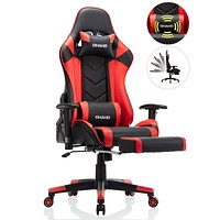 OHAHO Gaming Chair Racing Style Office Chair Adjustable Massage Lumbar Cushion Swivel Rocker Recliner Leather High Back Ergonomic Computer Desk Chair with Retractable Arms and Footrest (Black/Red) Black/Red