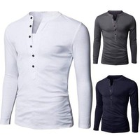 Men Slim Fit Stylish Shirt Long Sleeve Casual T-shirt