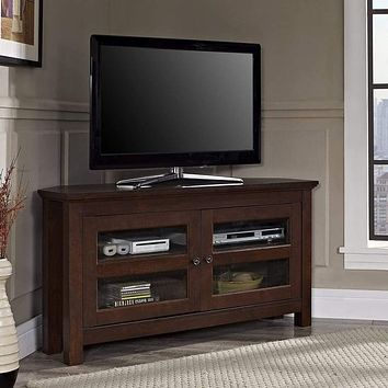 Remarkably Designed Corner Wood TV Console in Traditional Brown by Walker Edison