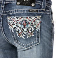 Summer Spell Tribal Mid-Rise Boot Cut Jeans
