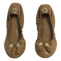 Tory Burch Reese Leather Ballet Flat Shoes Beige