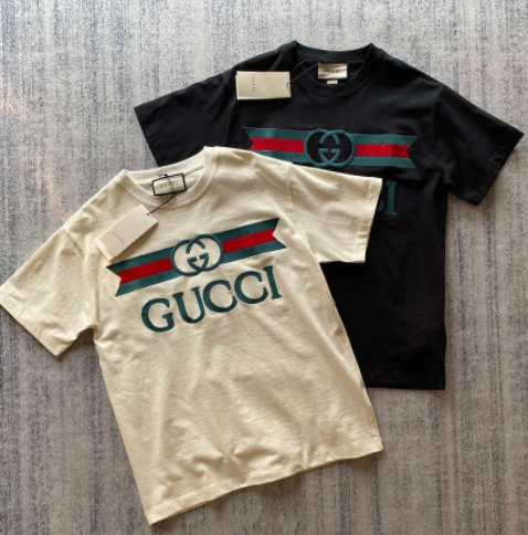 Image of GUCCI Women Fashion Short Sleeve Pure cotton Print Round collar Top