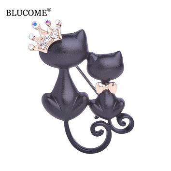 Smooth Black Mother Daughter Cats Brooches Crystal Crown Queen Corsages Hijab Pin Women Hats Scarf Suit Brooch Clothes Buckles