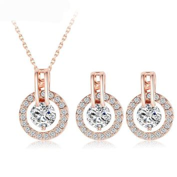 New Big Sale Wedding Jewelry Sets for Women Rose Gold Color Necklace and Earring