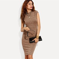Knit Workwear Elegant Pencil Dress Work Stand Collar Cap Sleeve Knee-Length Slim Women Bodycon Dresses