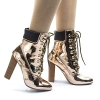 Blossom33 Block Heel Combat Work Boots w Lace Up Padded Collar
