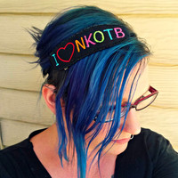 I heart NKOTB headband or choker necklace New Kids on the Block Embroidered - Neon love