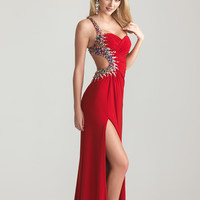 6666 Night Moves by Allure 2013 Prom Dresses - Red Ruched Jersey Beaded One Shoulder Open Back Prom Dress