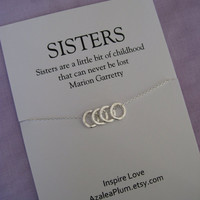 40th birthday gift for sister jewelry, 50th Birthday SISTERS necklace, 4 Eternity rings jewelry for her, Four friends. 30th Birthday Gift.
