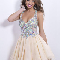 Amdml New Crystal Adron Bodice Straps Ball Gown Nude Tulle Cocktail Dresses 2016 Sexy Deep V-Neck Vestido Formal Party Dresses