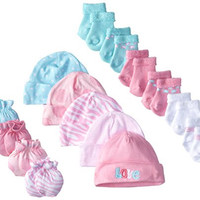Gerber Baby Newborn Love 15 Piece Socks Caps and Mittens Essential Gift Set for Girls, Pink/White/Blue, 0-3 Months