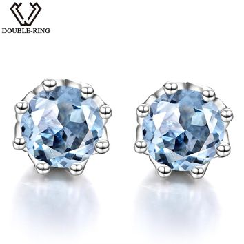 DOUBLE-R Solid 925 Sterling Silver Plant Blue Stud Earrings Female Natural Topaz Earrings Classic Women Gift Gemstone Jewelry