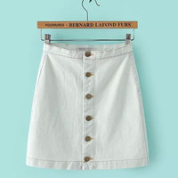 High Waist Denim Mini Skirt with Buttons