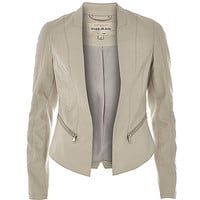 River Island Womens Beige leather-look fitted jacket