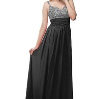 Moonar Chiffon Straps Formal Prom Gowns Beads Decoration Wedding Party Dress