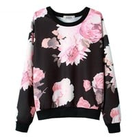 Women's Fleece/Base T-shirt Long Sleeves With Contrast Color Flower Printing