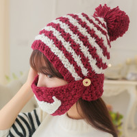 Knitted Helmet Hat with Mustache Mask