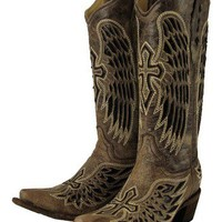 Corral Ladies Wing And Cross Sequence Boot